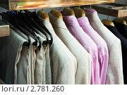Купить «Одежда на вешалке в магазин», фото № 2781260, снято 20 января 2019 г. (c) Дмитрий Калиновский / Фотобанк Лори