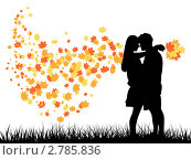 Романтическая пара осенью. Стоковая иллюстрация, иллюстратор Евгения Малахова / Фотобанк Лори