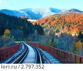 Железнодорожный мост и первый осенний снег, фото № 2797352, снято 22 октября 2010 г. (c) Юрий Брыкайло / Фотобанк Лори