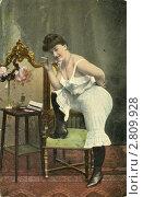 Купить «Старая немецкая открытка 1908 года. Портрет женщины в панталонах и с сигаретой», фото № 2809928, снято 23 июля 2018 г. (c) Sergey Kohl / Фотобанк Лори