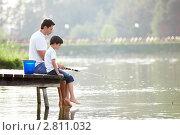 Купить «Отец с сыном на рыбалке», фото № 2811032, снято 13 августа 2011 г. (c) Raev Denis / Фотобанк Лори