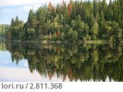 Купить «Тишина. Отражение леса и неба в озере», фото № 2811368, снято 26 августа 2011 г. (c) Pukhov K / Фотобанк Лори