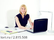 Купить «Улыбающаяся бизнес-леди в офисе работает за ноутбуком», фото № 2815508, снято 12 мая 2011 г. (c) Ольга Красавина / Фотобанк Лори
