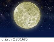 Купить «Большая Луна на тёмном небе», иллюстрация № 2830680 (c) Сергей Галушко / Фотобанк Лори
