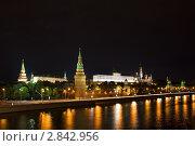 Ночная панорама Московского Кремля (2011 год). Стоковое фото, фотограф Марков Николай / Фотобанк Лори