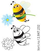 Купить «Пчела с цветком, рисунок», иллюстрация № 2847232 (c) Рада Коваленко / Фотобанк Лори