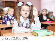 Купить «Ученица поднимает руку на уроке в школе», фото № 2850396, снято 1 сентября 2011 г. (c) Кекяляйнен Андрей / Фотобанк Лори