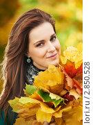 Купить «Девушка с жёлтыми листьями в парке», фото № 2850528, снято 20 февраля 2020 г. (c) Дмитрий Калиновский / Фотобанк Лори