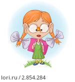 Маленькая девочка с бабочкой на носу. Стоковая иллюстрация, иллюстратор Константин Костенко / Фотобанк Лори