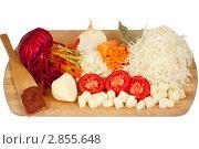 Свежие нарезанные овощи для борща. Стоковое фото, фотограф Сергей Колесников / Фотобанк Лори