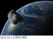 Купить «Астероид на фоне Земли», иллюстрация № 2856480 (c) Кирилл Путченко / Фотобанк Лори