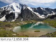 Ледник Ак-Оюк и горное озеро (2011 год). Редакционное фото, фотограф Екатерина Рыжова / Фотобанк Лори