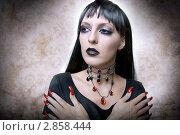 Купить «Портрет девушки с готическим макияжем для хэллоуина, в образе ночного вампира», фото № 2858444, снято 20 августа 2011 г. (c) katalinks / Фотобанк Лори