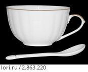 Белая чашка и ложка для кофе. Стоковое фото, фотограф Светлана Боронина / Фотобанк Лори