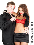 Купить «Молодые любовники на белом фоне», фото № 2863484, снято 1 сентября 2009 г. (c) Сергей Сухоруков / Фотобанк Лори
