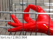 Купить «Рука в красной резиновой перчатке внутри хромированной клетки», фото № 2863964, снято 30 августа 2009 г. (c) Losevsky Pavel / Фотобанк Лори