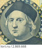 Христофор Колумб на банкноте Багамских островов 1 доллар. Стоковое фото, фотограф Georgios Kollidas / Фотобанк Лори