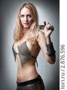Купить «Красивая девушка в кольчужной одежде», фото № 2876596, снято 1 сентября 2011 г. (c) katalinks / Фотобанк Лори