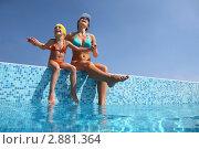 Купить «Молодая женщина с дочкой сидят на бортике бассейна», фото № 2881364, снято 21 июля 2010 г. (c) Losevsky Pavel / Фотобанк Лори
