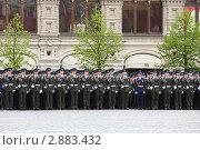 Купить «Строй солдат на репетиции парада Победы на Красной площади 6 мая 2010 года в Москве», фото № 2883432, снято 6 мая 2010 г. (c) Losevsky Pavel / Фотобанк Лори
