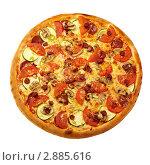 Пицца с салями и курицей. Стоковое фото, фотограф Сергей Матвеев / Фотобанк Лори