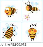Купить «Смешная пчела в рамке - набор из четырех картинок», иллюстрация № 2900072 (c) Рада Коваленко / Фотобанк Лори