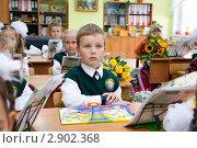 Купить «Первоклассник на уроке», фото № 2902368, снято 1 сентября 2011 г. (c) Matwey / Фотобанк Лори