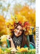 Купить «Красивая девушка в осеннем парке», фото № 2903512, снято 28 ноября 2018 г. (c) Дмитрий Калиновский / Фотобанк Лори