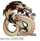 Купить «Коричневый (элемент-земля), бежевый восточный дракон», иллюстрация № 2910792 (c) Анастасия Некрасова / Фотобанк Лори