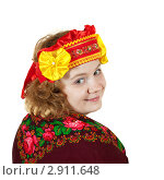 Купить «Женщина в этническом головном уборе и платком на плечах», фото № 2911648, снято 15 октября 2011 г. (c) Яков Филимонов / Фотобанк Лори