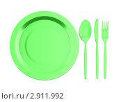 Купить «Пустая тарелка, вилка, ложка и нож на белом фоне», иллюстрация № 2911992 (c) Максим Бондарчук / Фотобанк Лори