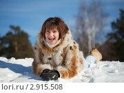 Купить «Молодая женщина лежит на снегу», фото № 2915508, снято 27 февраля 2011 г. (c) Яков Филимонов / Фотобанк Лори