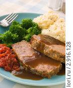 Купить «Мясной рулет с картофельным пюре, брокколи, томатным и кленовым соусом», фото № 2916128, снято 17 мая 2007 г. (c) Monkey Business Images / Фотобанк Лори