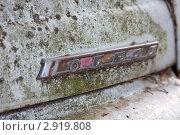 """Купить «Табличка с названием """"Победа"""" на капоте заброшенного легкового автомобиля ГАЗ М-20», фото № 2919808, снято 22 августа 2009 г. (c) Родион Власов / Фотобанк Лори"""
