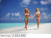 Красивые девушки на морском пляже. Стоковое фото, фотограф Иван Михайлов / Фотобанк Лори