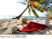 Купить «Шапочка Санта Клауса и подарок  на морском пляже», фото № 2930296, снято 21 сентября 2011 г. (c) Иван Михайлов / Фотобанк Лори