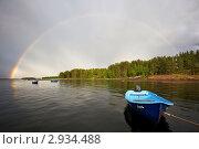 Купить «Радуга над Кандалакшским заливом», фото № 2934488, снято 28 мая 2020 г. (c) Александр Семенов / Фотобанк Лори