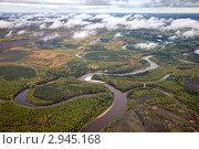 Низкие облака над осенним лесом. Стоковое фото, фотограф Владимир Мельников / Фотобанк Лори