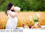 Беременная девушка с волнистыми волосами пьет молоко из банки на фоне пшеничного поля летом. Стоковое фото, фотограф Екатерина Штерн / Фотобанк Лори