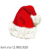 Красная шапка Санта Клауса. Стоковая иллюстрация, иллюстратор Ольга Алиева / Фотобанк Лори