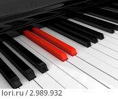 Красные клавиши пианино. Стоковая иллюстрация, иллюстратор Виталий / Фотобанк Лори