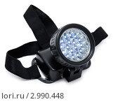 Купить «Включенный налобный светодиодный фонарь», фото № 2990448, снято 13 октября 2011 г. (c) Александр Подшивалов / Фотобанк Лори