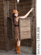 Купить «Молодая женщина в ковбойской шляпе у входа в салун», фото № 3004308, снято 10 апреля 2011 г. (c) Сергей Дубров / Фотобанк Лори