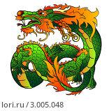 Купить «Зеленый (элемент-дерево) восточный дракон», иллюстрация № 3005048 (c) Анастасия Некрасова / Фотобанк Лори