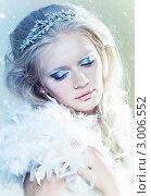 Купить «Блондинка с макияжем снежной королевы и перьями», фото № 3006552, снято 6 ноября 2011 г. (c) Вероника Галкина / Фотобанк Лори
