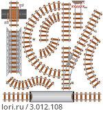 Элементы железной дороги. Иллюстрация. Стоковая иллюстрация, иллюстратор PILart / Фотобанк Лори