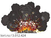 Извержение вулкана на белом фоне, векторная иллюстрация. Стоковая иллюстрация, иллюстратор PILart / Фотобанк Лори