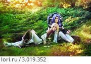 Купить «Двое эльфов отдыхают на поляне в лесу», фото № 3019352, снято 23 июля 2018 г. (c) Евгения Литовченко / Фотобанк Лори