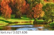 Купить «Золотая осень. Пейзаж с деревьями и рекой», фото № 3021636, снято 20 мая 2019 г. (c) Петр Малышев / Фотобанк Лори
