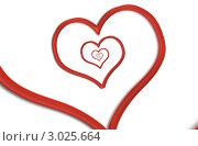 Купить «Сердце-спираль из красной ленты на белом», иллюстрация № 3025664 (c) Liseykina / Фотобанк Лори